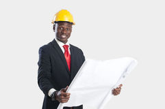 Afrikaanse Amerikaanse bouwvakker stock afbeeldingen