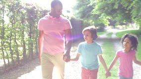 Afrikaanse Amerikaanse Familie die in Platteland lopen stock videobeelden