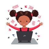 Afrikaanse Amerikaanse gelukkige meisje het leren codage vector illustratie
