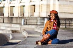 Afrikaanse Amerikaanse glimlachende vrouw Royalty-vrije Stock Foto