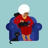 Afrikaanse Amerikaanse Grootmoeder en kattenzitting op stoel omaca vector illustratie