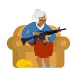 Afrikaanse Amerikaanse Grootmoeder met kanon Oude vrouw in een leunstoel royalty-vrije illustratie
