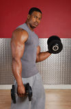 Afrikaanse Amerikaanse het opheffen gewichten Stock Foto