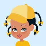 Afrikaanse Amerikaanse het portretillustratio van het meisjesbeeldverhaal Royalty-vrije Stock Afbeelding