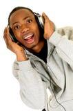 Afrikaanse Amerikaanse hoofdtelefoon royalty-vrije stock afbeeldingen