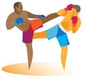 Afrikaanse Amerikaanse kickboxer valt zijn rivaal aan Stock Afbeelding