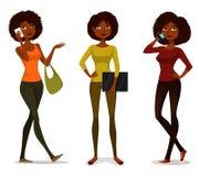 Afrikaanse Amerikaanse meisjes met mobiele telefoon Stock Foto