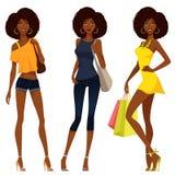 Afrikaanse Amerikaanse meisjes op kleurrijke de zomermanier Royalty-vrije Stock Afbeelding