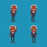 Afrikaanse Amerikaanse mensen, Oude mens De opa in Verschillende 4 stelt Stock Afbeeldingen