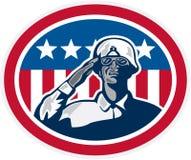 Afrikaanse Amerikaanse Militair Salute Flag Retro Royalty-vrije Stock Afbeeldingen