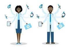 Afrikaanse Amerikaanse Multitasking Medische Arts royalty-vrije illustratie