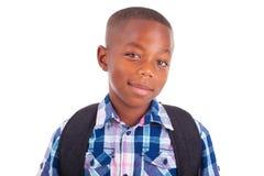 Afrikaanse Amerikaanse schooljongen - Zwarte mensen Royalty-vrije Stock Foto