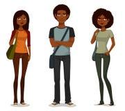 Afrikaanse Amerikaanse studenten in vrijetijdskleding Royalty-vrije Stock Afbeelding