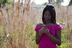 Afrikaanse Amerikaanse tiener in aard stock fotografie