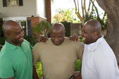 Afrikaanse Amerikaanse vader en zijn volwassen zonen royalty-vrije stock afbeelding