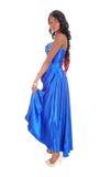 Afrikaanse Amerikaanse vrouw in blauwe kleding in profiel Stock Afbeelding