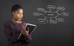 Afrikaanse Amerikaanse vrouw die in boekagenda marketing diagram op bordachtergrond schrijven Royalty-vrije Stock Afbeeldingen