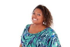 Afrikaanse Amerikaanse vrouw die - Zwarte mensen glimlachen Royalty-vrije Stock Fotografie