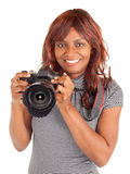 Afrikaanse Amerikaanse Vrouwelijke Fotograaf die u ontspruiten stock afbeelding