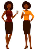 Afrikaanse Amerikaanse vrouwen in slimme vrijetijdskleding royalty-vrije illustratie