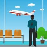 Afrikaanse Amerikaanse Zakenman bij de Luchthaven Stock Afbeelding