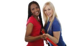 Afrikaanse en Europese vrouwengreep één kabel Stock Foto