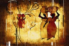 Afrikaanse etnische retro uitstekende illustratie Stock Afbeelding