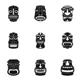 Afrikaanse geplaatste gezichtspictogrammen, eenvoudige stijl Stock Afbeeldingen