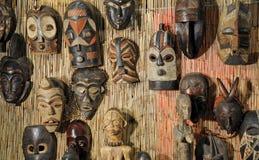 Afrikaanse houten maskers Stock Fotografie