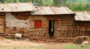 Afrikaanse huizen in Ethiopië Royalty-vrije Stock Afbeeldingen