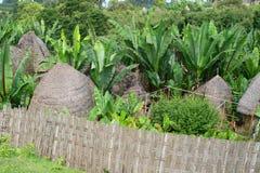 Afrikaanse hutten die met omgeving mengen Stock Fotografie