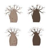Afrikaanse iconische boom Vectorbaobabreeks Het silhouet van Adansoniagregorii Royalty-vrije Stock Afbeelding