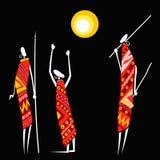 Afrikaanse jagers onder de zon vector illustratie