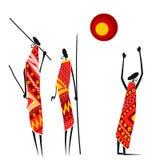 Afrikaanse jagers onder de zon royalty-vrije illustratie