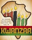 Afrikaanse Kaart met Kaarsen en Vlag voor Kwanzaa-Viering, Vectorillustratie Royalty-vrije Stock Fotografie