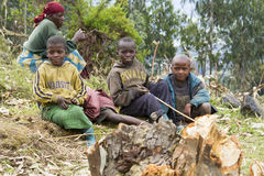 Afrikaanse kinderen in Rwanda Stock Foto's