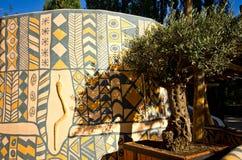 Afrikaanse kleihutten bij Dierentuinsafari, Dvur Kralove Royalty-vrije Stock Afbeelding