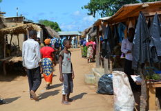 Afrikaanse markt Kandestrand Nkhatabaai malawi Stock Foto's