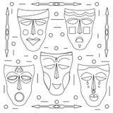 Afrikaanse maskers Beeldverhaal polair met harten Royalty-vrije Stock Fotografie