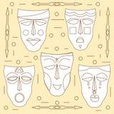 Afrikaanse maskers Beeldverhaal polair met harten Royalty-vrije Stock Afbeelding