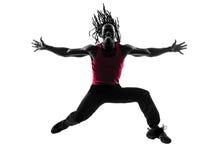 Afrikaanse mens die het dansende silhouet van geschiktheidszumba uitoefenen Royalty-vrije Stock Foto