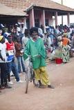 Afrikaanse mens met zijn fiets Stock Afbeelding