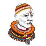 Afrikaanse mens in stammenkleren Mooie zwarte mens Vector illustratie Stock Foto's
