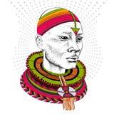 Afrikaanse mens in stammenkleren Mooie zwarte mens Vector illustratie Stock Afbeeldingen