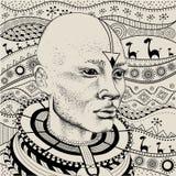 Afrikaanse mens in stammenkleren Mooie zwarte mens Vector illustratie Royalty-vrije Stock Foto