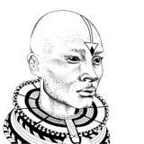 Afrikaanse mens in stammenkleren Mooie zwarte mens Vector illustratie Royalty-vrije Stock Afbeelding
