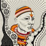 Afrikaanse mens in stammenkleren Mooie zwarte mens Vector illustratie Royalty-vrije Stock Foto's