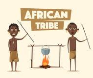 Afrikaanse mensen Inheemse Zuidamerikaans De vectorillustratie van het beeldverhaal Stock Foto