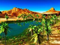 Afrikaanse oase royalty-vrije stock afbeeldingen