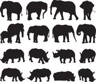 Afrikaanse olifant en de witte contour van het rinocerossilhouet Stock Afbeeldingen